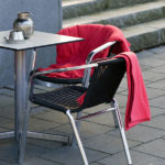 Cafe chairs with blankets - Winter season concept
