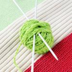 Ball of yarn on knitted fabrics